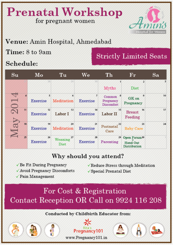 Prenatal Exercise, Meditation & Counselling Workshop at Amin Hospital Ahmedabad